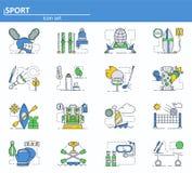 Vectorreeks sportpictogrammen in dunne lijnstijl Volleyball, lacrosse, het ski?en, het schermen, golf, rugzak Website UI en stock illustratie