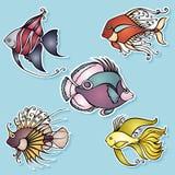 Vectorreeks Stickers met Overzeese Flora en Fauna Stock Foto