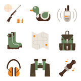 Vectorreeks symbolen van de hertenjacht Royalty-vrije Stock Afbeeldingen