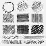 Vectorreeks texturen van lijn grunge borstels royalty-vrije illustratie