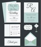 Vectorreeks uitnodigingskaarten met de inzameling van het elementenhuwelijk Royalty-vrije Stock Foto