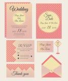 Vectorreeks uitnodigingskaarten met de inzameling van het elementenhuwelijk Royalty-vrije Stock Afbeeldingen