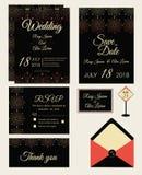 Vectorreeks uitnodigingskaarten met de inzameling van het elementenhuwelijk Royalty-vrije Stock Afbeelding