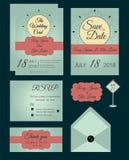 Vectorreeks uitnodigingskaarten met de inzameling van het elementenhuwelijk Stock Fotografie