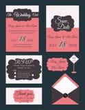 Vectorreeks uitnodigingskaarten met de inzameling van het elementenhuwelijk Stock Foto's