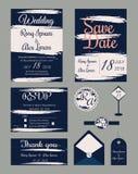 Vectorreeks uitnodigingskaarten met de inzameling van het elementenhuwelijk Stock Afbeelding