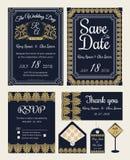 Vectorreeks uitnodigingskaarten met de inzameling van het elementenhuwelijk Stock Afbeeldingen