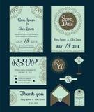 Vectorreeks uitnodigingskaarten met het Huwelijkscol. van bloemenelementen Royalty-vrije Stock Fotografie