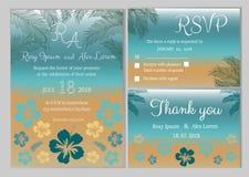Vectorreeks uitnodigingskaarten met het Huwelijkscol. van bloemenelementen Stock Foto
