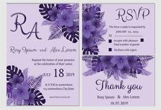 Vectorreeks uitnodigingskaarten met het Huwelijkscol. van bloemenelementen Stock Afbeelding