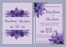 Vectorreeks uitnodigingskaarten met het Huwelijkscol. van bloemenelementen Stock Foto's