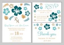 Vectorreeks uitnodigingskaarten met het Huwelijkscol. van bloemenelementen Royalty-vrije Stock Afbeeldingen
