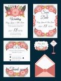 Vectorreeks uitnodigingskaarten met mede het Huwelijk van bloemenelementen Stock Foto's