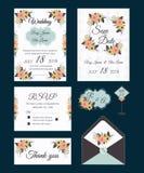 Vectorreeks uitnodigingskaarten met mede het Huwelijk van bloemenelementen Stock Foto