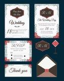 Vectorreeks uitnodigingskaarten met mede het Huwelijk van bloemenelementen Stock Afbeeldingen