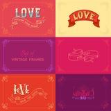 Vectorreeks uitstekende kaders op gekleurde achtergronden Royalty-vrije Stock Foto's