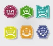 Vectorreeks uitstekende kleurrijke glanzende plastic promoetiketten Beste Prijs, Premiekwaliteit, Best-seller, Hoogste Kwaliteit royalty-vrije illustratie