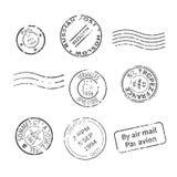 Vectorreeks uitstekende stijlpostzegels van landen en steden rond de wereld vector illustratie