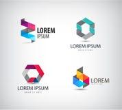Vectorreeks van abstract kleurrijk lint, origami Royalty-vrije Stock Afbeeldingen