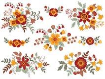 Vectorreeks van Autumn Floral Bouquets Royalty-vrije Stock Foto's