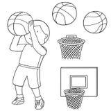 Vectorreeks van basketbalbal, hoepel en basketbalspeler vector illustratie