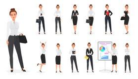 Vectorreeks van bedrijfsvrouwenkarakter Bureauwijfje vector illustratie