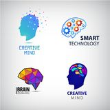 Vectorreeks van creatieve mening, uitwisseling van ideeën, slimme technologieënemblemen Stock Afbeeldingen