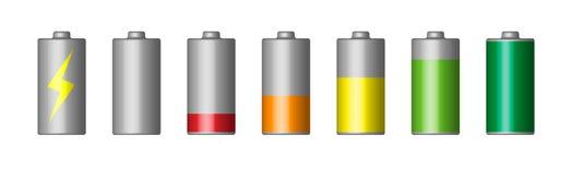 Vectorreeks van 3D batterij stock illustratie
