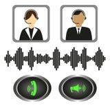 Vectorreeks van de exploitanten van de pictogrammentelefoon, vraagknopen en correcte indicator Royalty-vrije Stock Afbeeldingen
