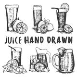 Vectorreeks van de hand getrokken schets van het vruchtensapglas Cocktails en alcoholdranken Stock Foto