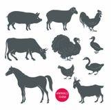Vectorreeks van de koe van landbouwbedrijfdieren, schapen, geit, varken, paard Stock Foto's
