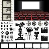 Vectorreeks van de pictogrammen en het materiaal van het bioskoopthema Royalty-vrije Stock Foto