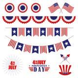 Vectorreeks van decoratie voor 4 van Juli Bunting voor de Onafhankelijkheidsdag van de V.S. Geïsoleerd op wit stock illustratie