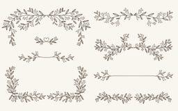 Vectorreeks van decoratief elementen, grens en paginaregelskader Stock Illustratie