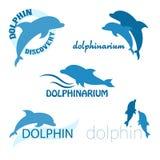 Vectorreeks van dolphinariumontwerp van embleem Royalty-vrije Stock Afbeeldingen