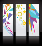 Vectorreeks van drie kleurrijk bannersmalplaatje. Stock Foto