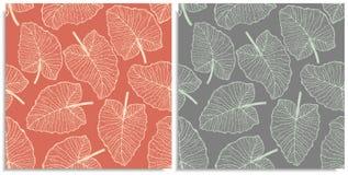 Vectorreeks van een naadloos patroon met twijgen van wildernissenbladeren Hand-drawn op blad bij de grafische stijl Lijnen, samen royalty-vrije stock afbeeldingen