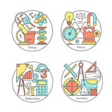 Vectorreeks van emblemenbiologie, fysica, meetkunde, wiskunde royalty-vrije illustratie