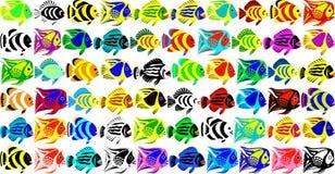 Vectorreeks van 60 fantastische tropische vissen Stock Afbeelding