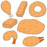 Vectorreeks van gebraden voedsel royalty-vrije illustratie