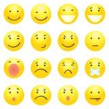 Vectorreeks van 16 Gele Emoticons Royalty-vrije Stock Foto's