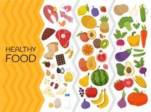 Vectorreeks van gezond voedsel royalty-vrije illustratie