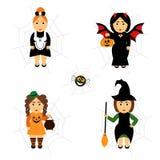 Vectorreeks van Halloween in beeldverhaalstijl Meisjes in vakantiekostuums Royalty-vrije Stock Afbeeldingen
