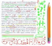 VECTORreeks van hand getrokken krabbelpictogrammen en realistisch potlood Geplaatste elementen Groene, gele en rode kleuren vector illustratie