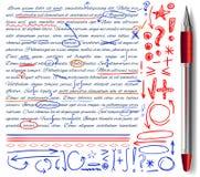 VECTORreeks van hand getrokken krabbelpictogrammen en realistische pen Geplaatste elementen Rode, oranje en blauwe kleuren stock illustratie