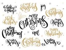 Vectorreeks van hand het van letters voorzien uitdrukking-vrolijke Kerstmis van Kerstmisgroeten - met hulstbladeren en sneeuwvlok stock illustratie