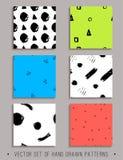Vectorreeks van 6 handdrawn naadloze patronen Stock Afbeeldingen