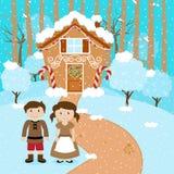 Vectorreeks van Hansel en Gretel voor Fairytale-Peperkoekhuis Royalty-vrije Stock Afbeeldingen