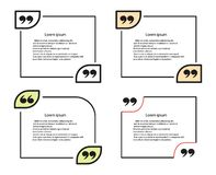 Vectorreeks van het citaatmalplaatje Kader voor commentaren, verklaringen De elementen zijn geïsoleerd op een lichte achtergrond royalty-vrije illustratie