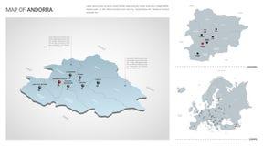 Vectorreeks van het land van Andorra Isometrische 3d kaart, de kaart van Andorra, de kaart van Europa - de namen met van het gebi royalty-vrije illustratie